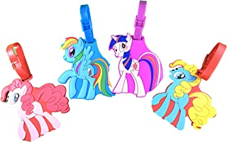 4 Pack (Ponies) Trendy Travel PVC Luggage Tags for school with adjustable strap (ID insert on back of tag), accessory for school backpack suitcase, great gift for kids children (2)