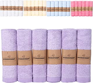 Storeofbaby Baby Washcloths Wipes Set Organic Bamboo Reusable Towels Purple Premium Extra Soft Pack of 6 10