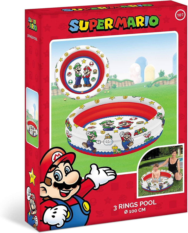 Mondo Toys-Super Mario | 3 Rings Pool-Piscina Hinchable para niños, 3 Anillas, diámetro 100 cm, Capacidad 84 litros, 16892, Multicolor
