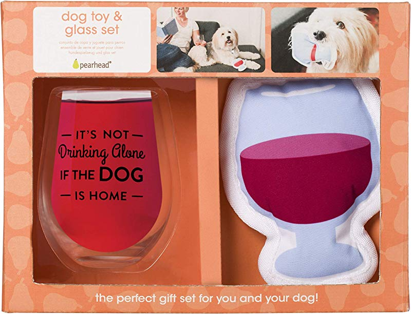 Pearhead Glass Gift Set Perfect For The Pet Owner Or Cat And Dog Lover White