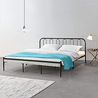 Cadre de Lit en Métal Solide Robuste avec Lattes en Métal Lit Double Acier Laqué 200 x 180 cm Noir Mat