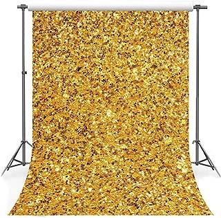 F-FUN SOUL Glitter Backdrop Cotton Cloth Shiny Gold Photography Backgrounds Birthday Party Portrait Photo Video Studio Props 5x7ft FS005