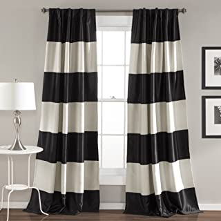 "Lush Decor Montego Striped Window Curtains Panel Set for Living, Dining Room, Bedroom (Pair), 84"" x 52"", Black"