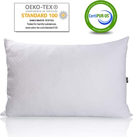 HIFORT Pillows for Sleeping Shredded Memory Foam Pillow King with Breathable Washable Cooling Bamboo Cover Hotel