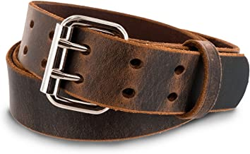Hanks Legend - Men's Double Prong Leather Belt - Heavy Duty Belts - USA Made - 100 Year Warranty