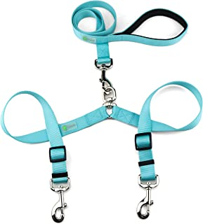 DCbark Tangle Free Double Dog Leash, No Tangle Adjustable Length Lead with Comfortable Padded Handle for 2 Dogs