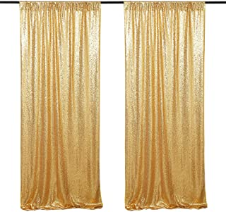 Sequin Backdrop Curtain Panel 2 Pieces 2FTx8FT Gold Sequin Photography Backdrop for Prom Party Wall Background Decoration
