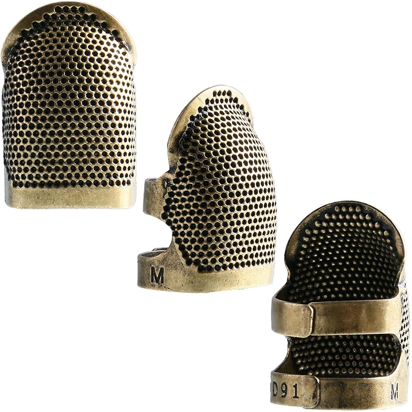 Zhanmai Copper Finger Protector Thimble Adjustable Fingertip Thimble for Sewing Embroidery Needlework, Medium