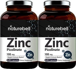 2 Pack Maximum Strength Zinc 100mg, Zinc Picolinate Supplement, 120 Capsules, Zinc Vitamin and Immune Vitamins for Enzyme ...