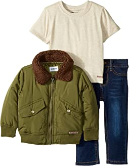 Poly Puffer Jacket with Sherpa Collar, Oatmeal Heather Jersey Tee, Stretch Denim Jeans (Infant)