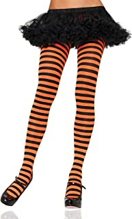 LEG AVENUE 7100 - Blickdichte Ringel-Strümpfhose Kostüm Damen Karneval, Einheitsgröße, schwarz/orange