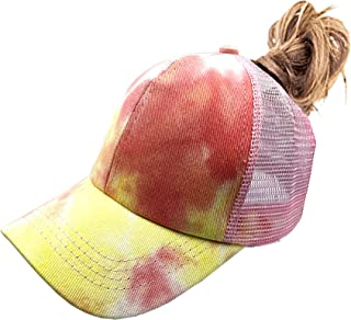 RNFENQS Girl's Criss Cross Ponytail Hat Child Tie Dye Baseball Cap Messy High Bun Trucker Hat for Age 3-13 Years Old Kid