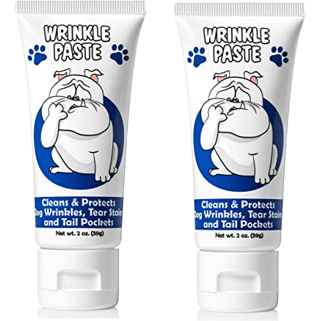 Squishface Wrinkle Paste - 2 Pack - Bulldog, French Bulldog, Pug, English Bulldog + – Cleans Wrinkles, Tear Stain, Tail Pockets, and Paws – Anti-Itch Tear Stain Remover & Bulldog Wrinkle Cream, 2 Oz.