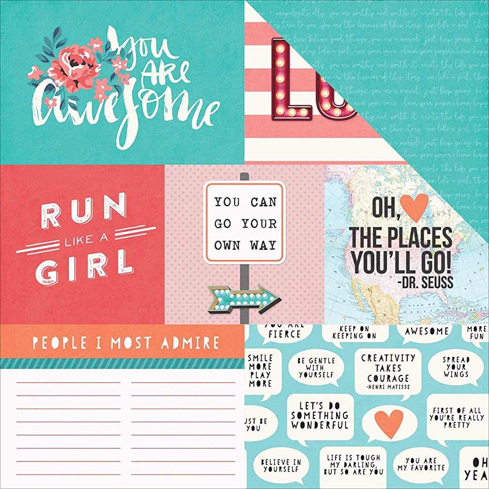 Photo Play Paper LG2026 25 Sheet Run Like a Girl Like a Girl Double-Sided Cardstock, 12