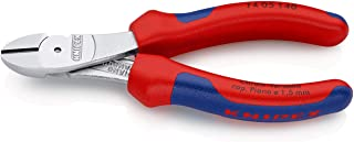 Knipex 74 05 140 High Leverage Diagonal Cutter Chrome Plated with Multi-Component Grips, 140 mm