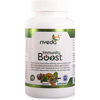 Nveda Immunity Boost with Papaya Leaves Extract, Giloy, Fenugreek seeds, Curcumin Longa (60 Nos)