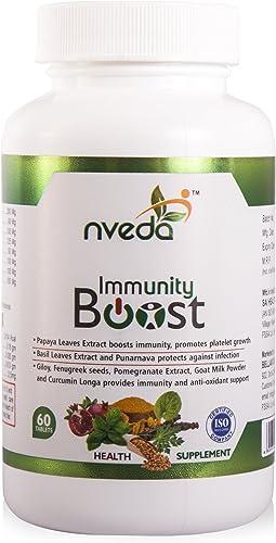 Nveda Immunity Boost with Papaya Leaves Extract Giloy Fenugreek seeds Curcumin Longa 60 Nos