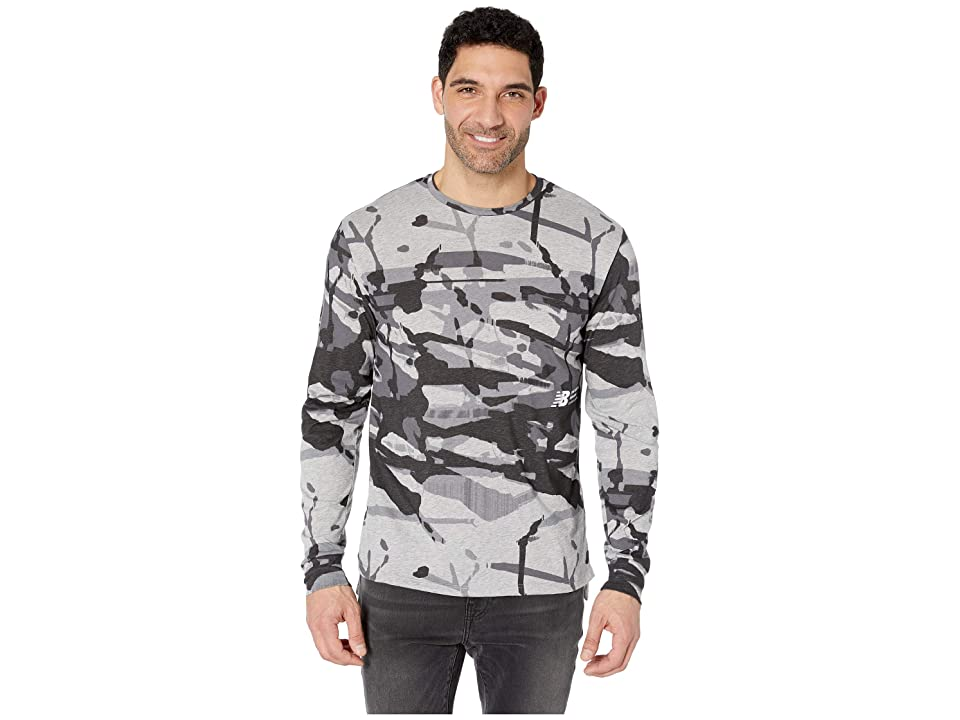 New Balance Printed R.W.T. Long Sleeve Heathertech Top (Outer Space) Men