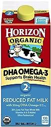 Horizon Organic Milk Plus DHA Omega-3 Reduced Fat Milk 2%Ultra Pasteurized, Half Gallon