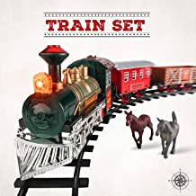 Electric Train Set w/ Lights and Sounds - Classic Model Train with 8 Rails, Locomotive Steam Engine and 3 Train Cars - 4 Model Horses for Fun Imaginary Play - Easy Assembly Christmas Tree Train