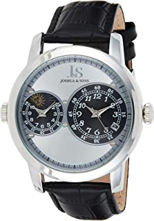 Joshua Sons men's Silver Dial Leather Band watch-JS87SS