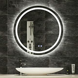 LUVODI Espejo Baño LED Redondo Espejo de Baño Antivaho con 3 Modos de Luces Ajustables Interruptor Táctil Espejo Moderno d...