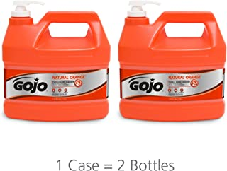GOJO NATURAL ORANGE Pumice Industrial Hand Cleaner, 1 Gallon Quick Acting Lotion Hand Cleaner with Pumice Pump Bottle (Pack of 2) - 0955-02