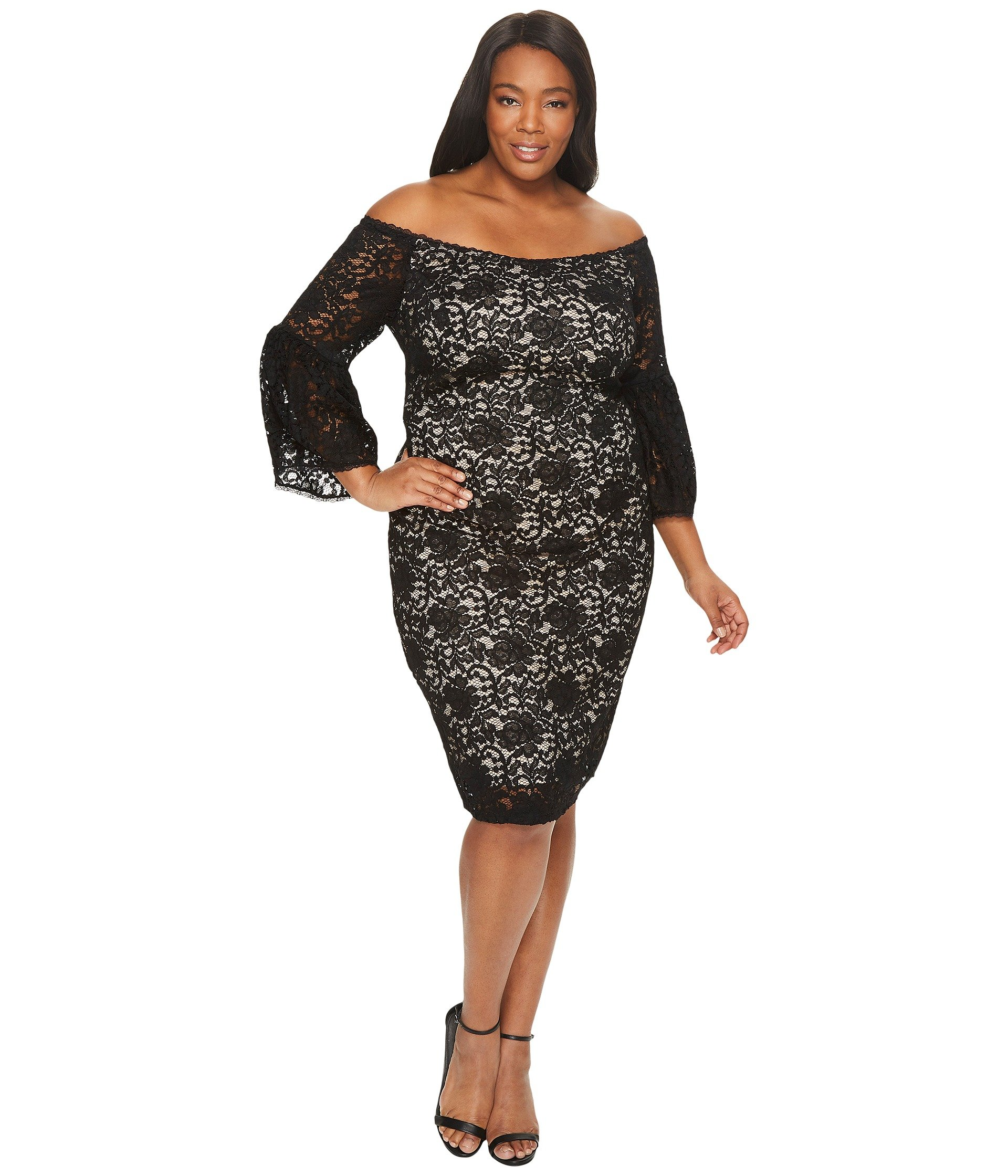 a63c69ad7f885 Adrianna Papell Plus Size Juliet Lace Off The Shoulder Sheath Dress In  Black Bisque