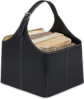 Relaxdays Panier à bois, range-buches similicuir, rangement & transport, porte-revues, anse, accessoire cheminée, noir