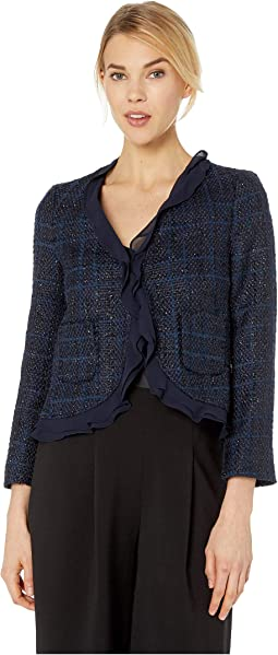Long Sleeve Indigo Tweed Ruffle Trim Blazer