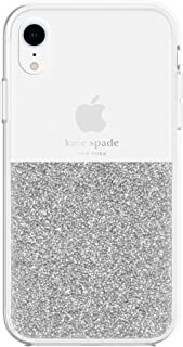 kate spade new york Silver Crystals Half Clear Case for iPhone XR - Protective Phone Case with Crystal Gems