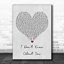 TOLAKA STORE #Chris #Lane #I Don't Know About You Grey Heart Song Lyric Poster Wall Art Home Decor Gifts for Lovers Painting