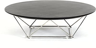 Limari Home Collection Modern Style Living Room Veneer Finished Round Coffee Table With Metal Base, Wenge & Black