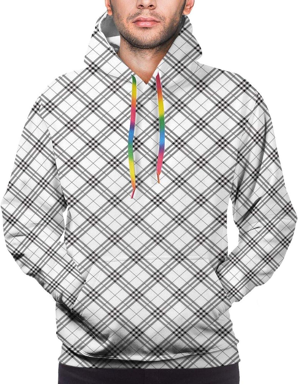 TENJONE Men's Hoodies Sweatshirts,Monochromatic Brush Typography Design of Motivational Words