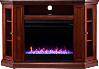 Southern Enterprises Claremont Fireplace, Brown Mahogany
