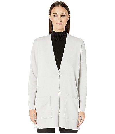 Eileen Fisher Fine Organic Cotton Silk V-Neck Boyfriend Cardigan (Pearl) Women
