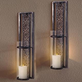 Wall Sconce Candle Holder Metal Wall Decorations for Living Room, Bathroom, Dining Room, Set of 2