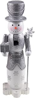 Clever Creations Tall Snowman Nutcracker Glittery Silver Outfit with Tophat | Holding Gift and Snowflake Scepter | Perfect for Any Collection | Festive Christmas Decor | 14