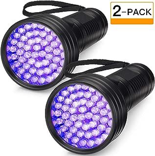 2-Pack UV Flashlight Black Light, FOLKSMATE 51 LED 390-395 nm Ultraviolet Blacklight Urine Detector for Dogs, Pet Stains, Bed Bugs, Scorpions, Portable for Travel Black Light