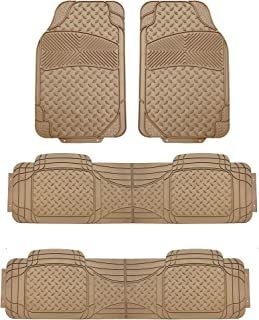 FH Group F11307 3-Row All Weather Trimmable Beige Vinyl Floor Mat Universal, 4 pcs