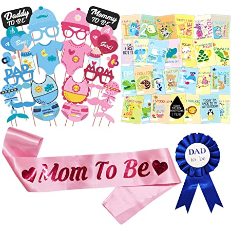 WOBBOX Baby Shower Combo of Photo Booth Party Props, Sash and Milestone Cards - Combo PM