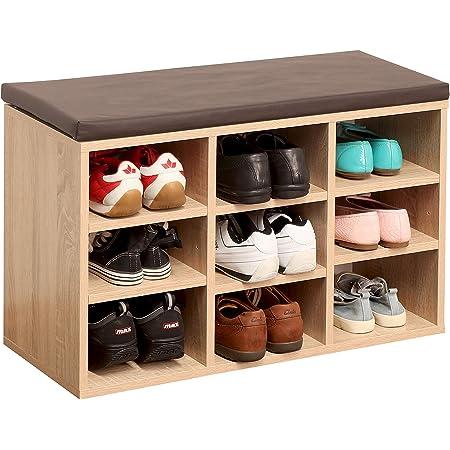 RICOO WM035-ES-B Banco Zapatero 79x49x30 Armario Interior con Asiento Organizador Zapatos Mueble recibidor Perchero Entrada Madera Roble marrón