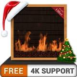 Erstaunlicher Gaskamin gratis - genieße die Weihnachtswinterferien auf deinem HDR 8K 4K-Fernseher und Feuergeräten als Hintergrundbild und Thema für Vermittlung und Frieden