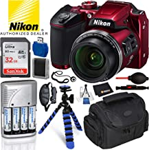 Nikon COOLPIX B500 Digital Camera (Red, 26508) & 16PC Essential Accessory Bundle – Includes: SanDisk Ultra 32GB SDHC Memory Card + 4X Rechargeable AA Batteries with Charger + Carrying Case + More