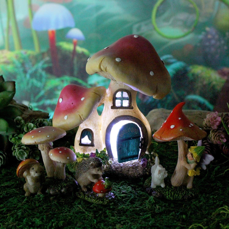 Mushroom Manor Fairy Garden Starter House with Set Suppl 4 Miami Mall years warranty