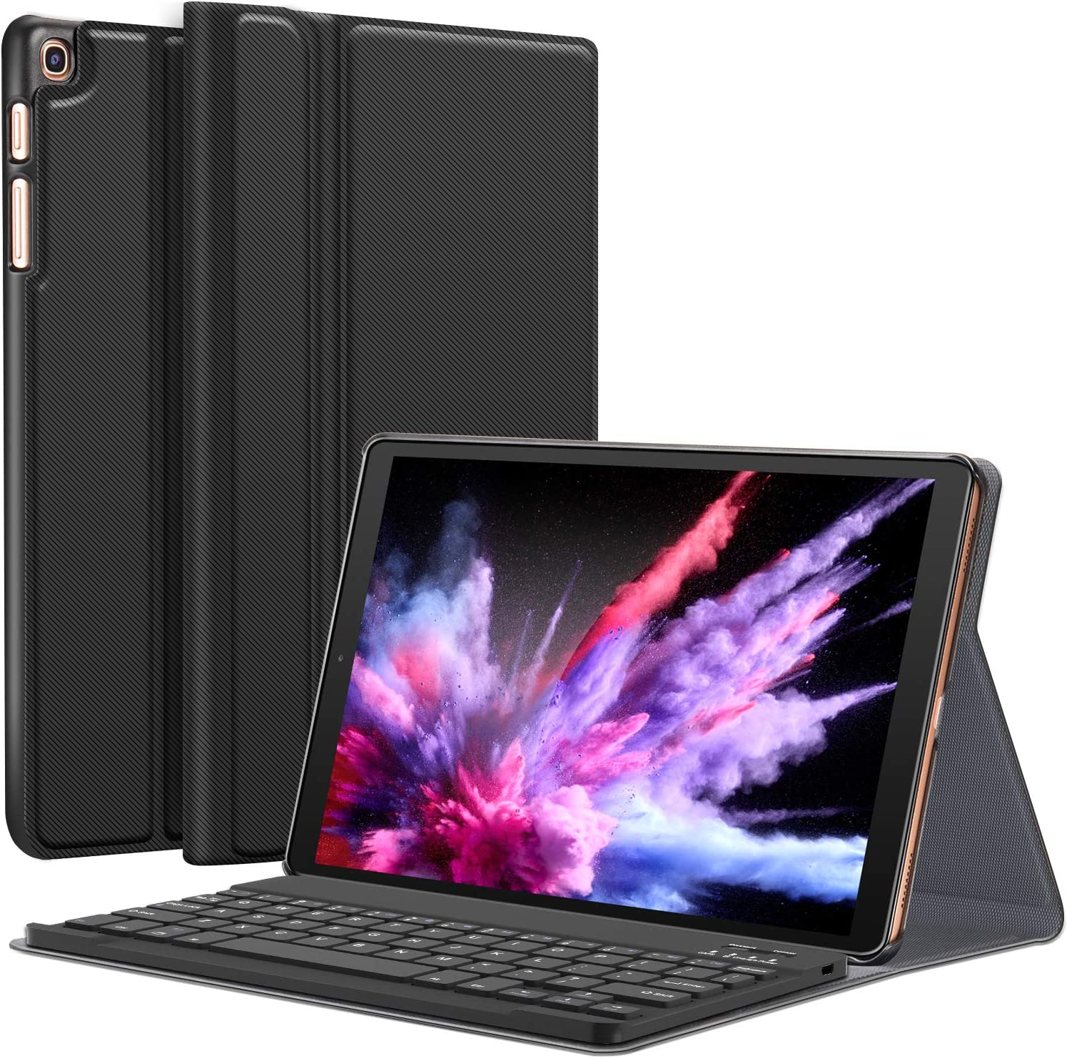 CHESONA Galaxy Tab A 10.1 2019 Case with Keyboard T510 T515 - Folio PU Leather Stand Case - Magnetically Detachable Wireless Keyboard Case for Samsung Galaxy Tab A 10.1 Inch SM-T510 SM-T515 2019