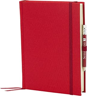 Semikolon Grand Voyage Linen Travel Diary, Bookmark and Pencil, Red (10504)