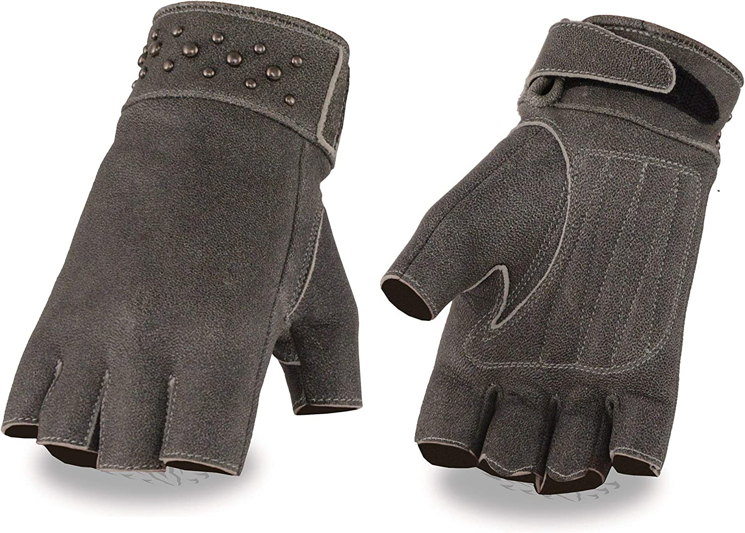 X-Large Milwaukee Leather MG7761 Ladies Fingerless Distressed Gray Leather Gloves with Gel Palms