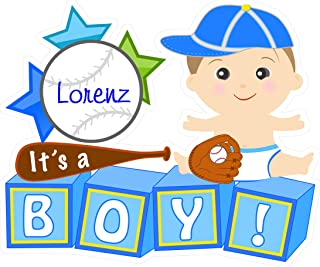 Cute News Custom It's a Boy Baby Yard Sign Announcement - Special Delivery Newborn Lawn Decoration - Welcome Home New Baby Personalized Display - Baby Shower Garden Party Sign (Baseball Theme) Blue