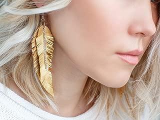 Golden metallic Leather Earrings, Feather yellow layered earrings, tribal Earrings, Boho earrings, dangle earrings, long earrings
